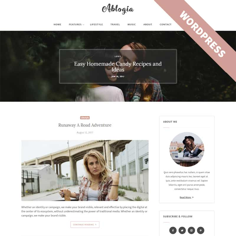 Ablogia - Personal Blog WordPress Theme