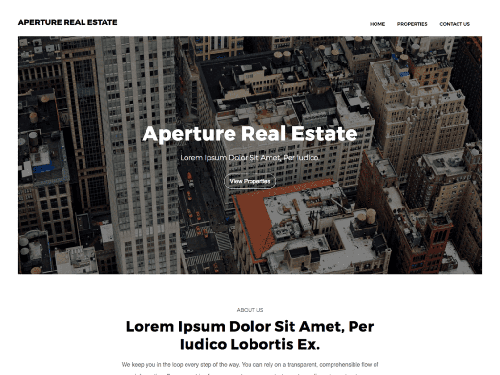 Aperture Real Estate free theme