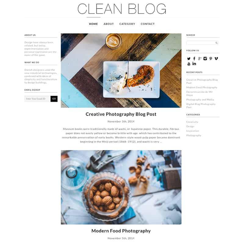 Clean Blog - Charming WordPress Theme