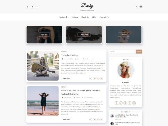 dashy free blog theme