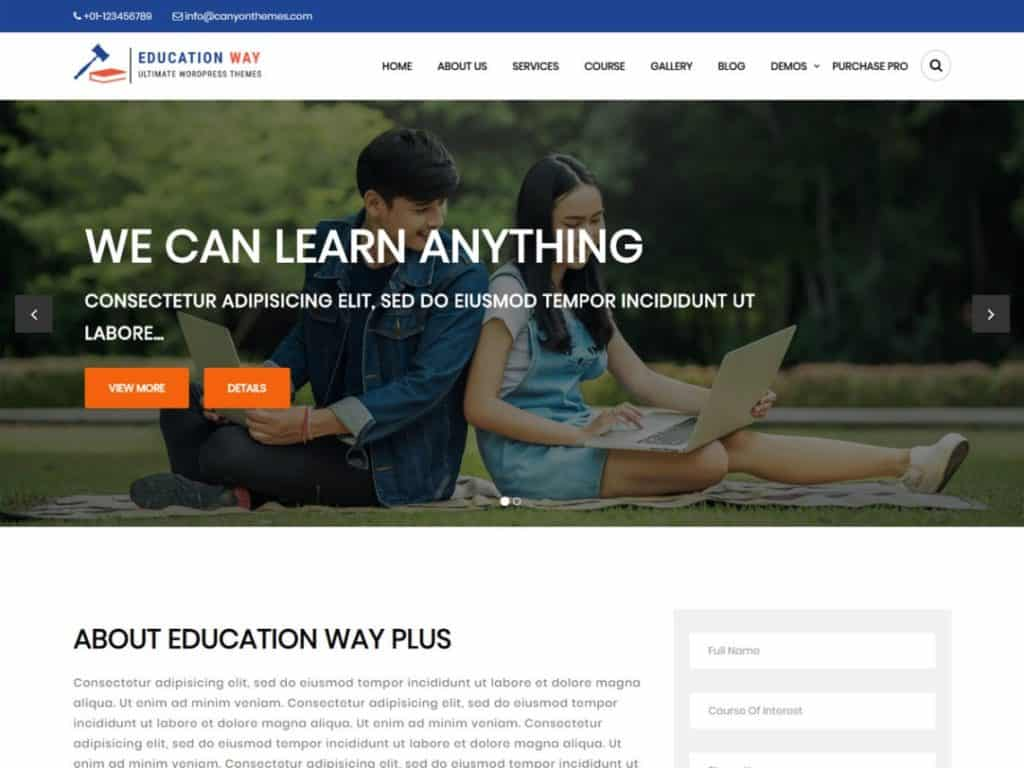 Education Way is simple, elegant and features rich free WordPress theme for school, college,
