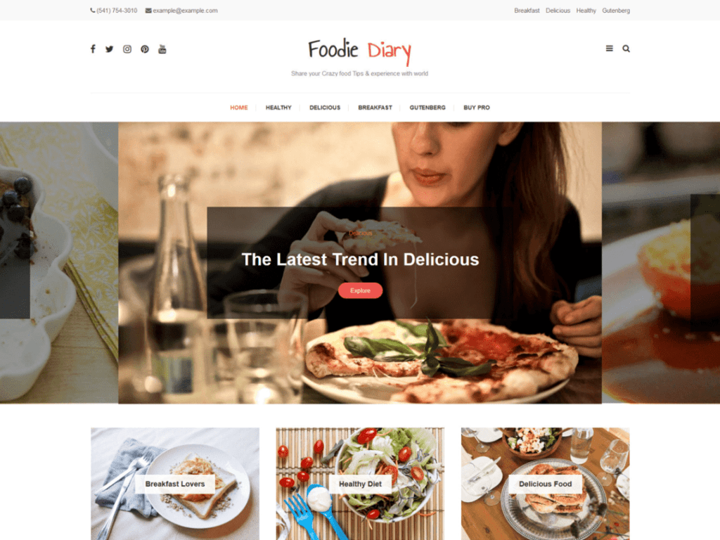 foodie diary theme free