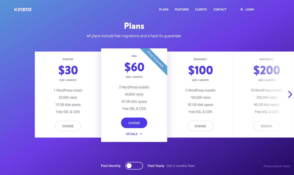 Kinsta month to month billing