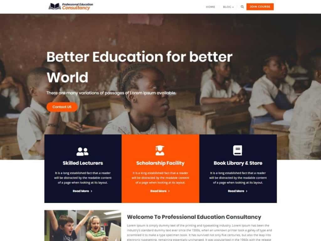 Professional Education Consultancy is child theme of Bizberg WordPress Theme