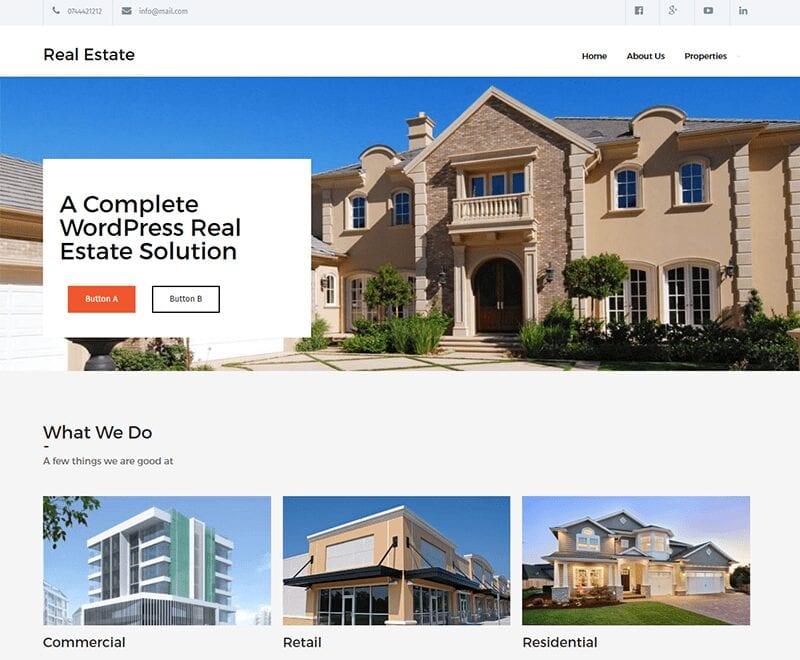 Real Estate Lite free WordPress theme