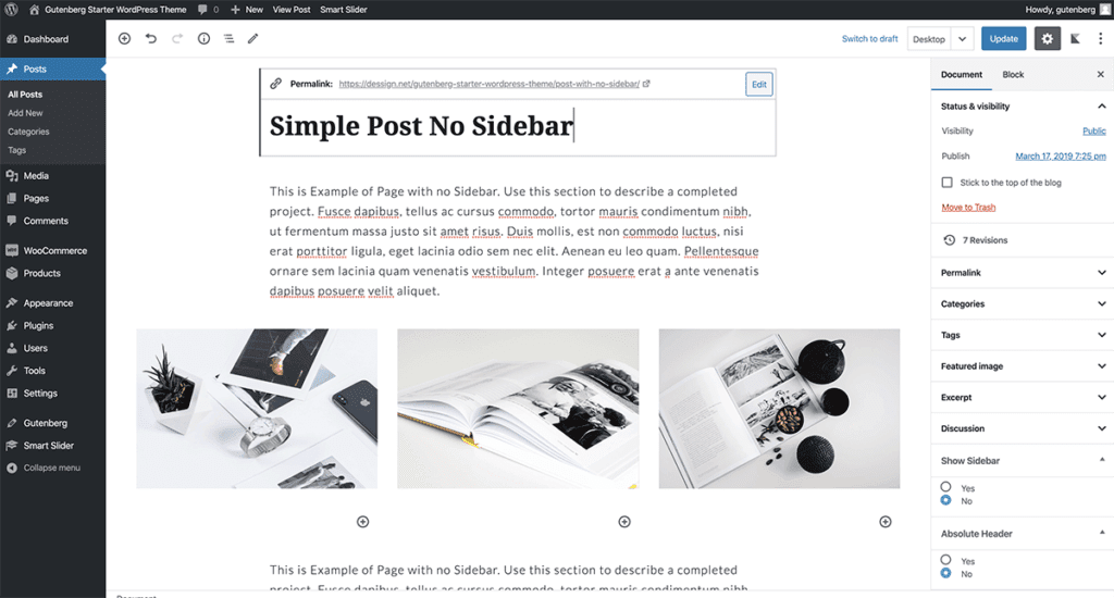 WordPress Gutenberg Simple Post 2020