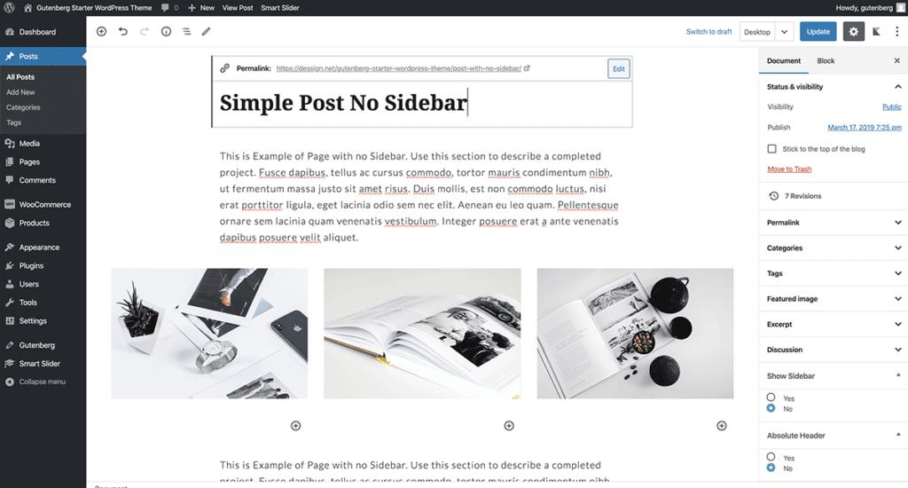 WordPress Gutenberg Simple Post 2020