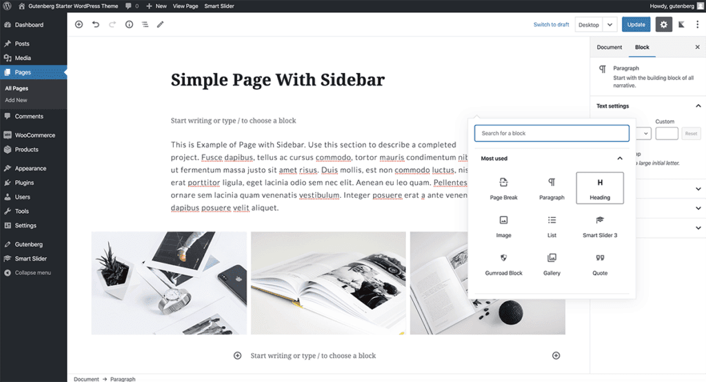 Adding Simple Page to WordPress Gutenberg Theme 2020