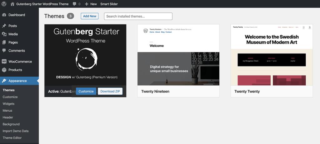 Install Gutenberg WordPress Theme 2020