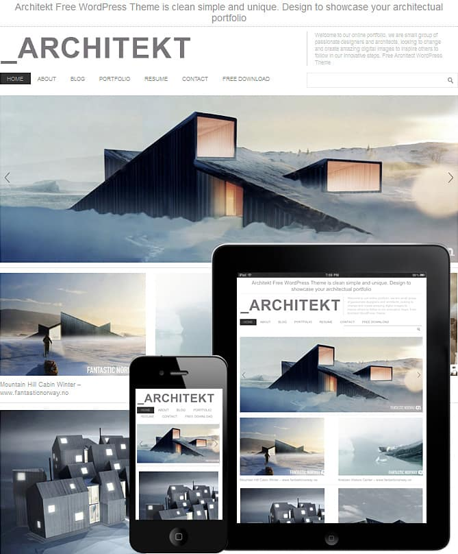 Free architecture wordpress theme dessign themes for Architecture wordpress