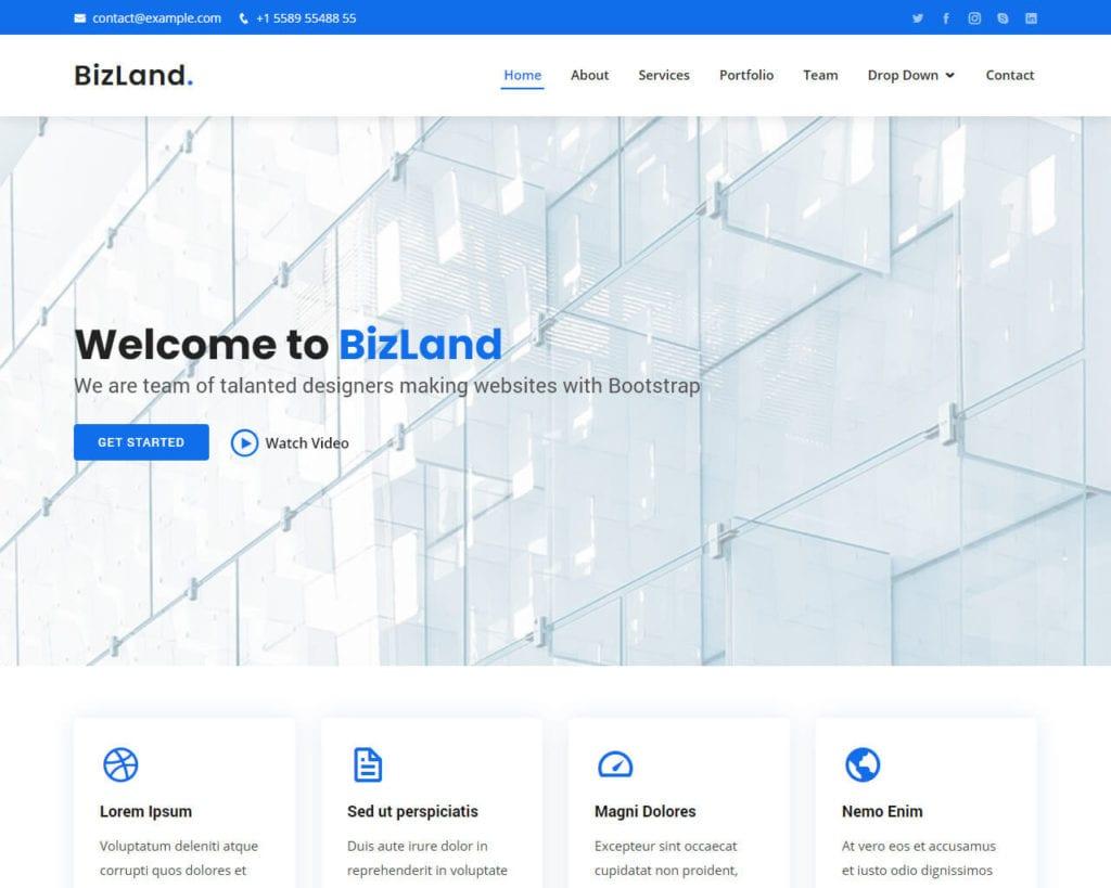 modèle de bootstrap bizland gratuit