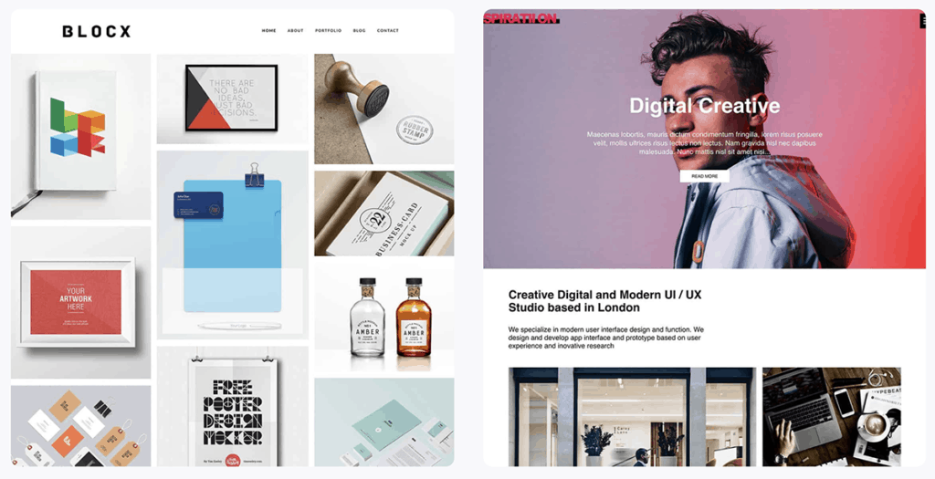 Inspiration and Blocx Portfolio Themes