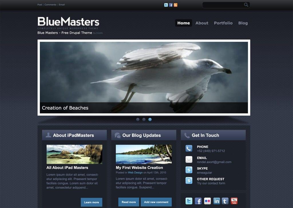 BlueMasters drupal free theme