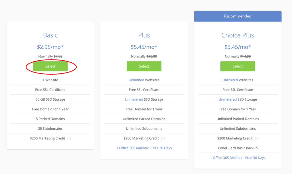 Bluehost Basic Plan $2.95/month pricing