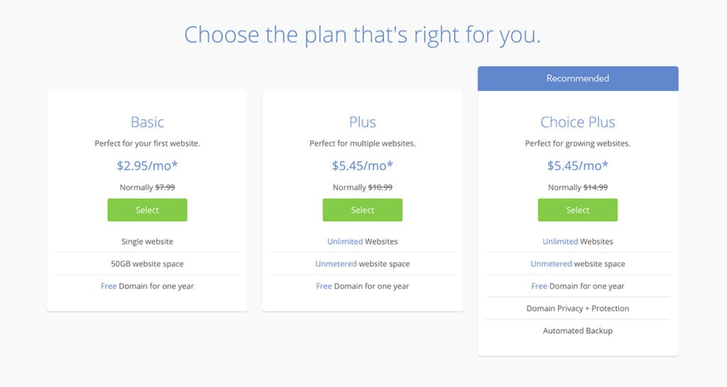 bluehost free migration plans