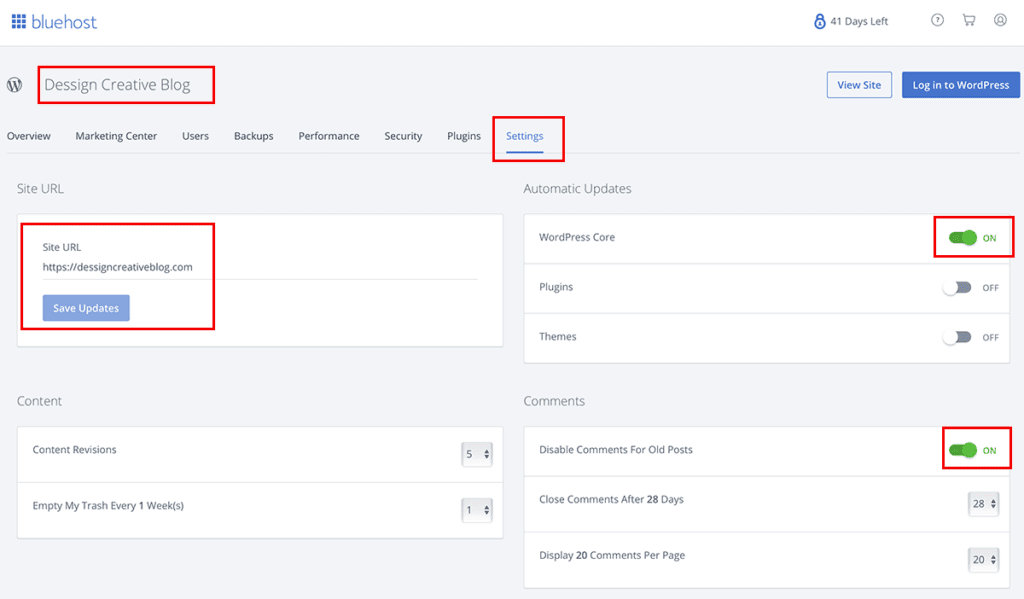 Bluehost My Site Settings Options 2020