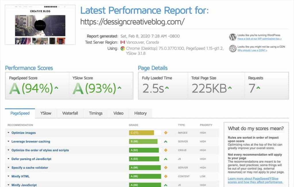Bluehost GTmetrix Page Speed
