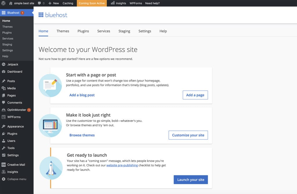 inside wordpress dashboard screen