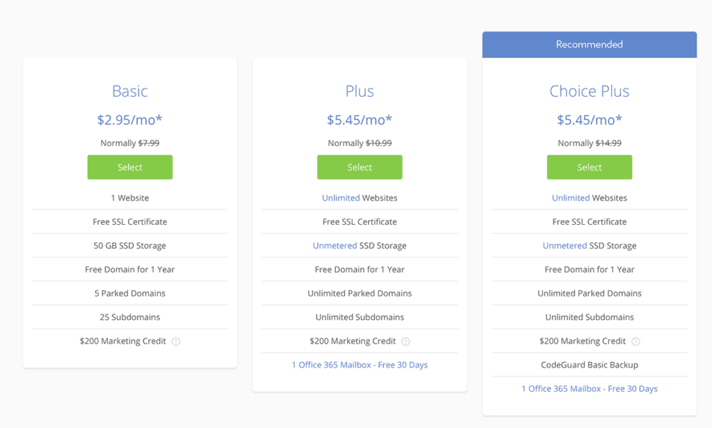bluhost plans with coupon deal