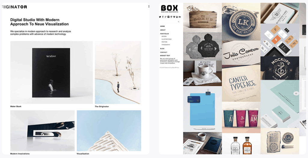 Box and Originator Portfolio WordPress Themes 2020
