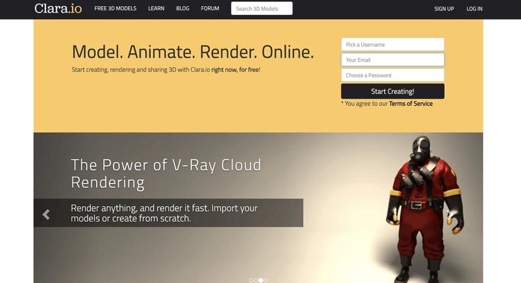 Clara - Model, Animate, Render, Online