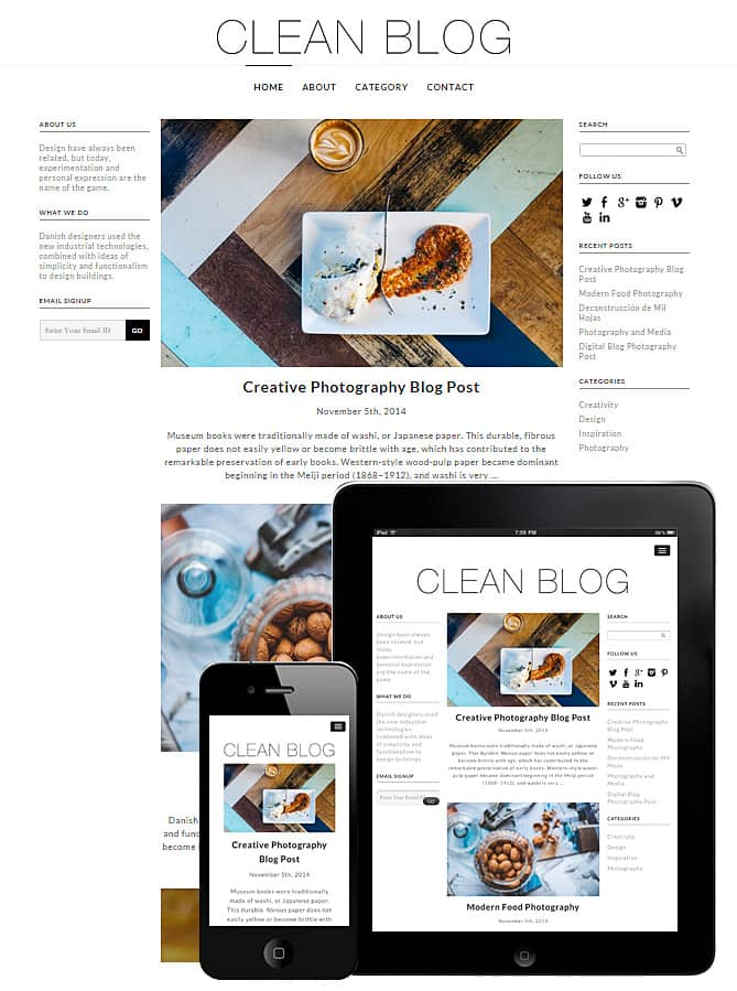 Clean Blog WordPress Theme - Best WordPress Themes for Creatives ...