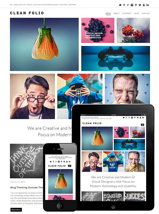 Clean Folio WordPress Theme - Best WordPress Themes for Creatives ...