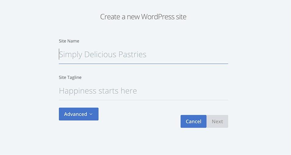 create new WordPress site details