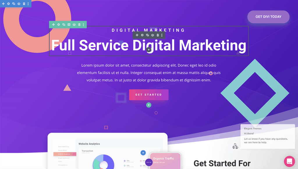Divi 4 front page builder features