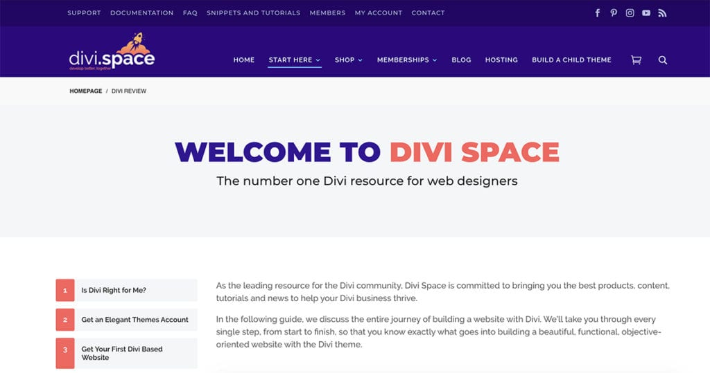 Divi Space number one Divi resources for web designers