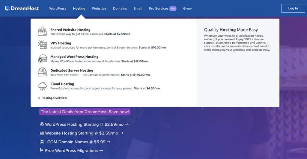 Dreamhost website overview
