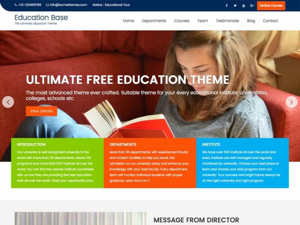 Education Base WordPress Free Theme for Free University
