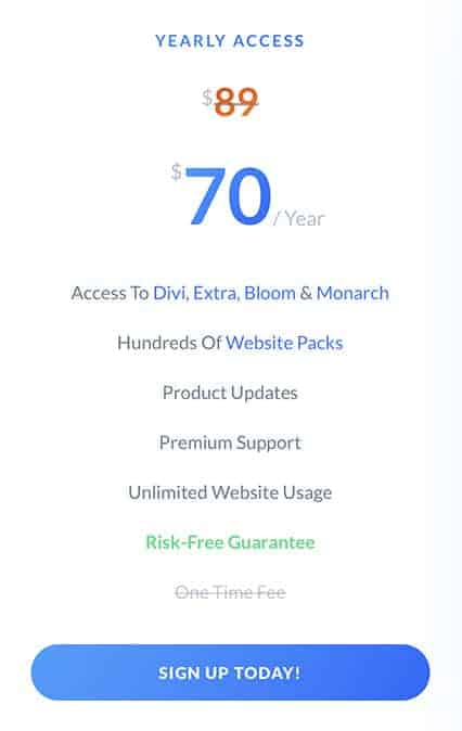 divi price yearly access