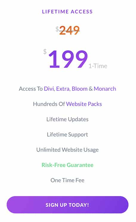 lifetime access divi special