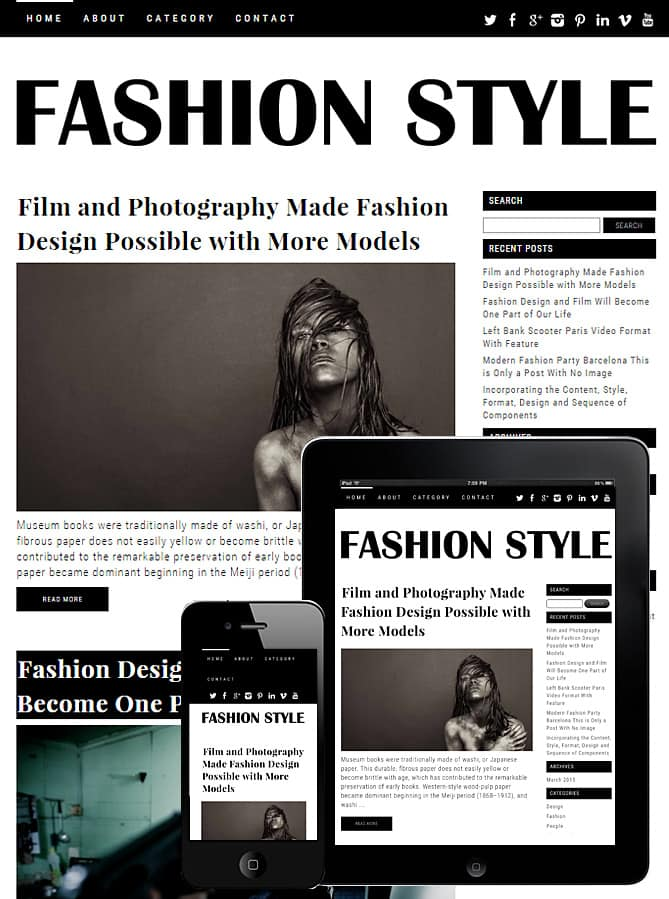 Free Fashion Theme WordPress - Dessign Themes
