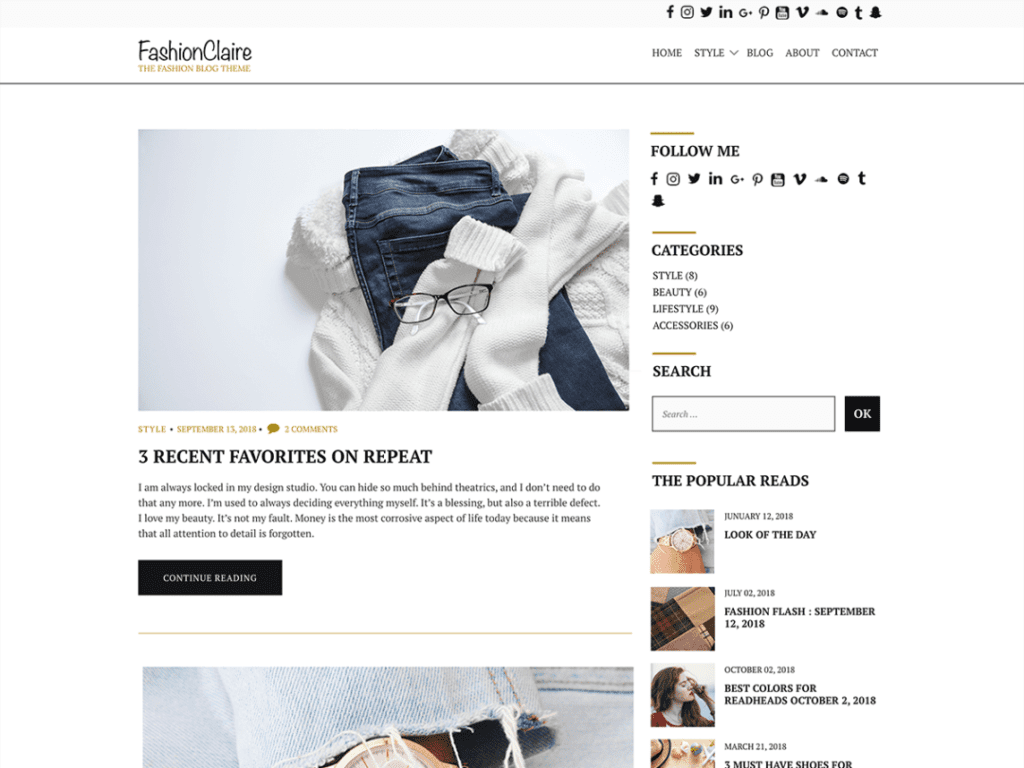 fashionclaire free fashion wordpress theme