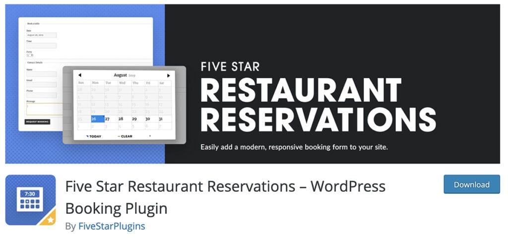 Five Star Restaurant Reservations – WordPress Booking Plugin