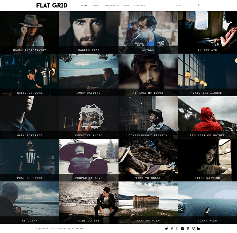 flat grid portfolio free theme