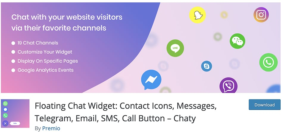 Floating Chat Widget: Contact Icons, Messages, Telegram, Email, SMS, Call Button – Chaty