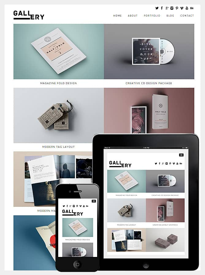 Gallery WordPress Theme Has Minimalist Style And Mobile Friendly Design Portfolio Unique Modern