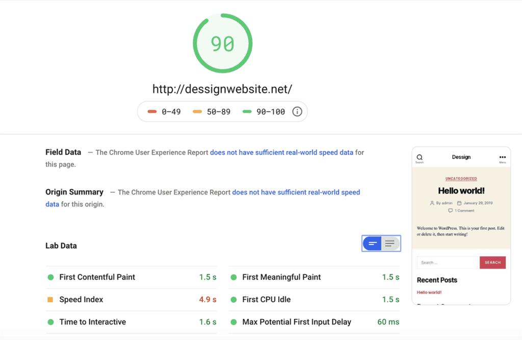 HostGator Google PageSpeed Insights 2020