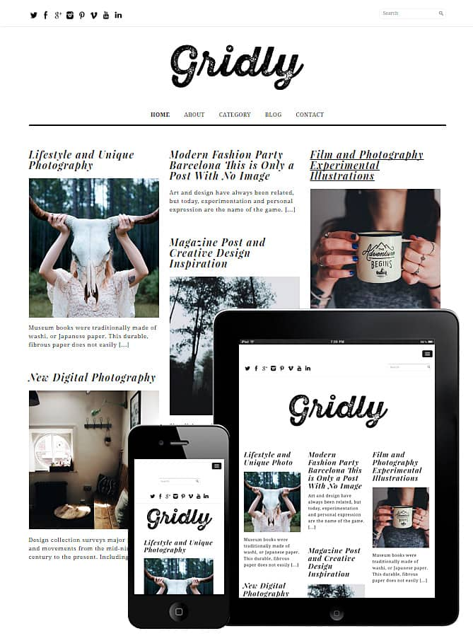Gridly Layout WordPress Theme - Free - Best WordPress Themes for ...