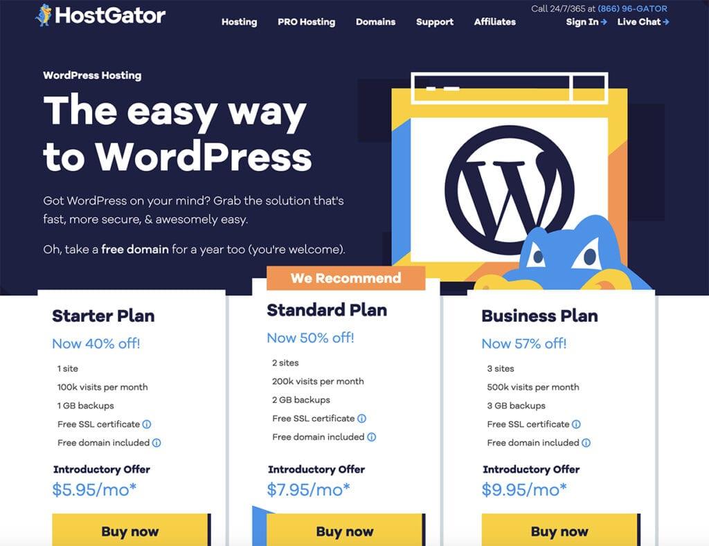 HostGator managed WordPress features