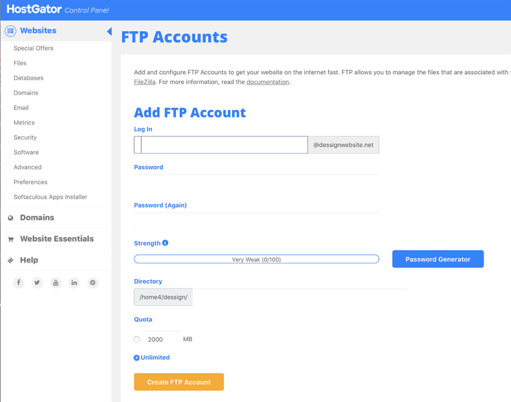 HostGator FTP Dashboard Overview