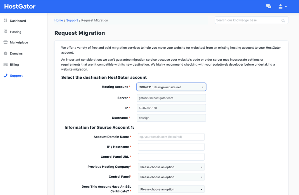 HostGator Request migration Overview