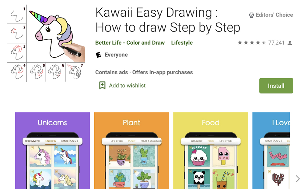 Kawaii easy drawing app
