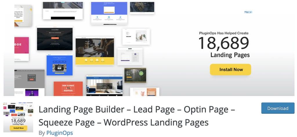 Landing Page Builder - Page principale - Page Optin - Squeeze Page - Pages de destination WordPress