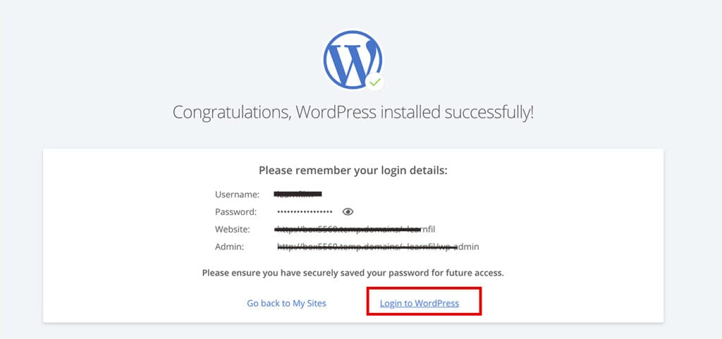 Congratulations WordPress installed successfully! screen
