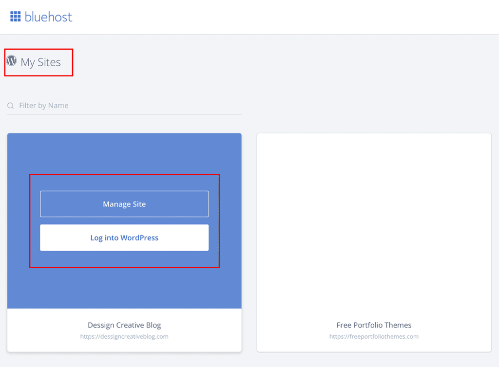 Bluehost Manage Site or Log into WordPress 2020