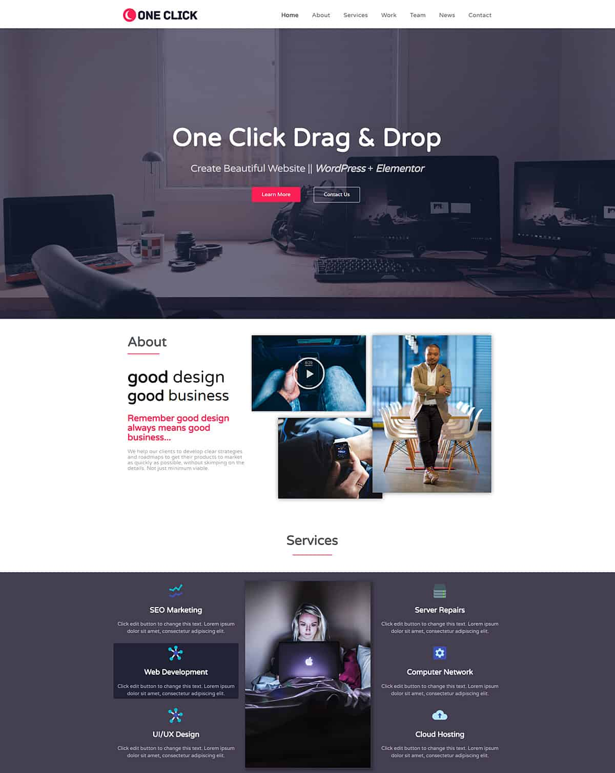 One Click WordPress Elementor Template Free